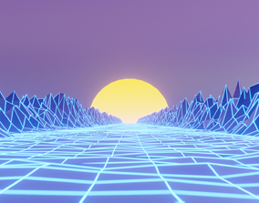 animated Retrowave 80s style 3D Scene Blender