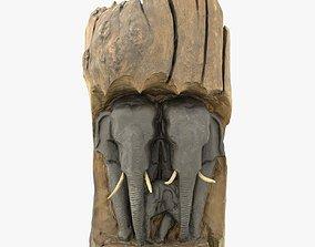 Wooden Asian Elephants 3D model
