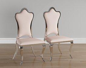 3D asset Upholstered chromed metal chair