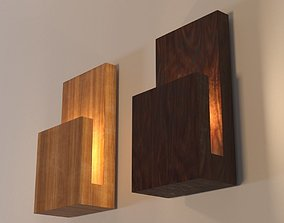 Modern Wood Wall Lamp 3D model low-poly