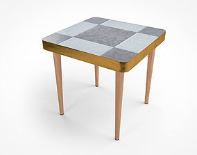Vintage Side Table Checker 3D