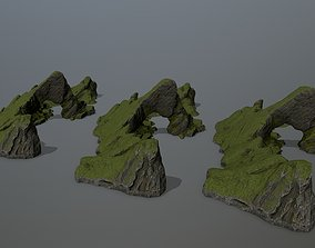 3D model realtime mossy rock