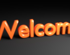 3D model Focused Welcome Text Animation