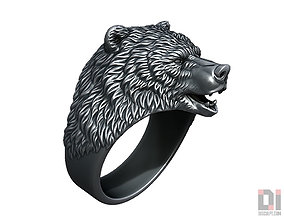 3D print model Brown Bear animal head ring