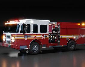 3D American Fire Engine Rescue Pumper Truck