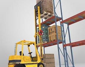 Forklift And Cargo 3D model