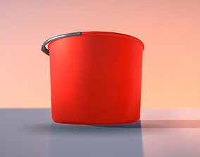 Red Plastic Bucket With Handle - Mid-Poly 3D asset
