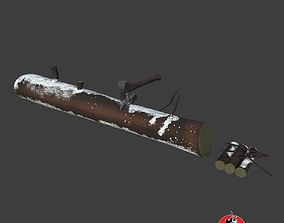 3D model Wood log with Axe
