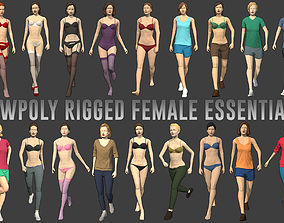 Lowpoly Rigged Female Essentials 3D model