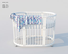 3D model Modern oval white baby bed cot