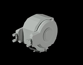 3D asset low-poly Machine-gun turret