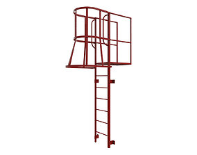 Fire escape stair Red 3D asset game-ready