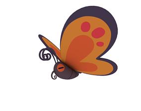 Cartoon butterfly 3D model rigged