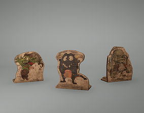 Troll Wooden Set Low Poly Game Ready 3D model