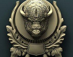 Bison head trophy medallion 3d stl model for cnc