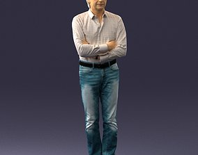 3D Middle aged man in shirt and jeans 0164