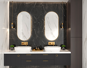 3D model Black and White and gold Bathroom with multi