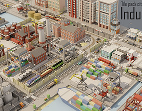 Tile pack city 3d low poly 6 Industrial VR / AR ready