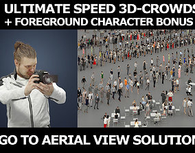 3d crowds and Keen camera foreground kneeling man