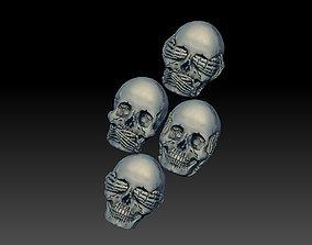Hear See Speak No EVIL skull bas relief cnc