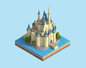 3D model Cartoon Low Poly Disney Castle