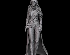 Woman in raincoat 3D print model figurines