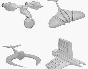 3D asset Lowpoly Sci-fi Ship Set