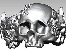 3D print model Carved Detailed Flora Love Skull Ring