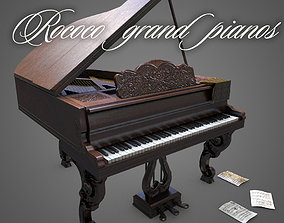 Rococo grand pianos 3D asset
