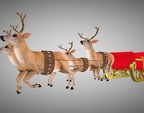 3D model Claus deer Rigged and Animated
