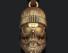 Bearded skull pendant with hat and sunglass 3D print model