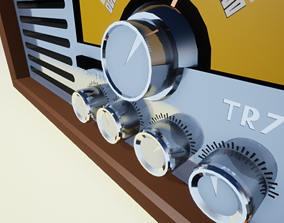 70s Style Radio High Quality Low Poly 3D asset