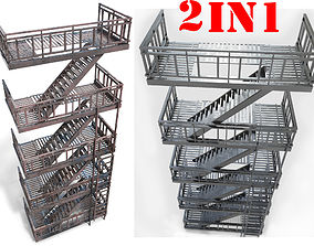 fire escape - PBR Game-Ready 3D model