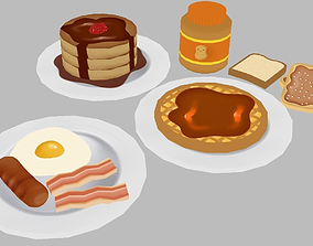 Breakfast Foods Pack - 10 Low Poly Hand VR / AR ready 1