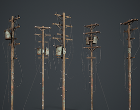 Power Pole Set PBR Game Ready 3D model low-poly