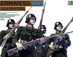 3D rigged German SS Black Uniform