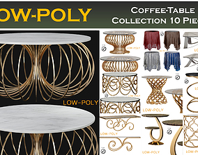 Coffee-Table Collection 10 Pieces 3D model VR / AR ready