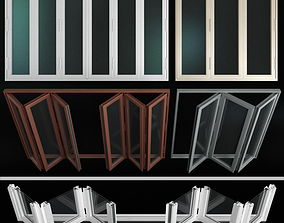 Folding stained Glass Aluminum Doors 3D doors