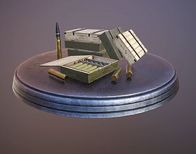 3D asset realtime Soviet 76-mm shells boxes low poly