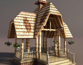 3D asset Wooden French Gazebo Low Poly
