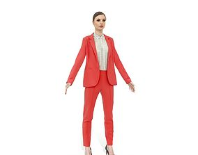 3D model Brunette business woman in a red suit