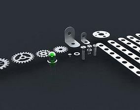 Screws nuts shims cogwheels and luminodiode 3D