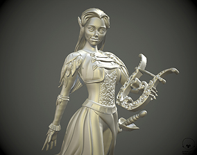 Eladrin Elf women Bard pathfinder 3D print model