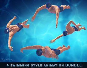 3D model 4 Swimming styles Animation Bundle
