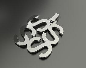 Pinwheel Letter S Necklace 3D printable model