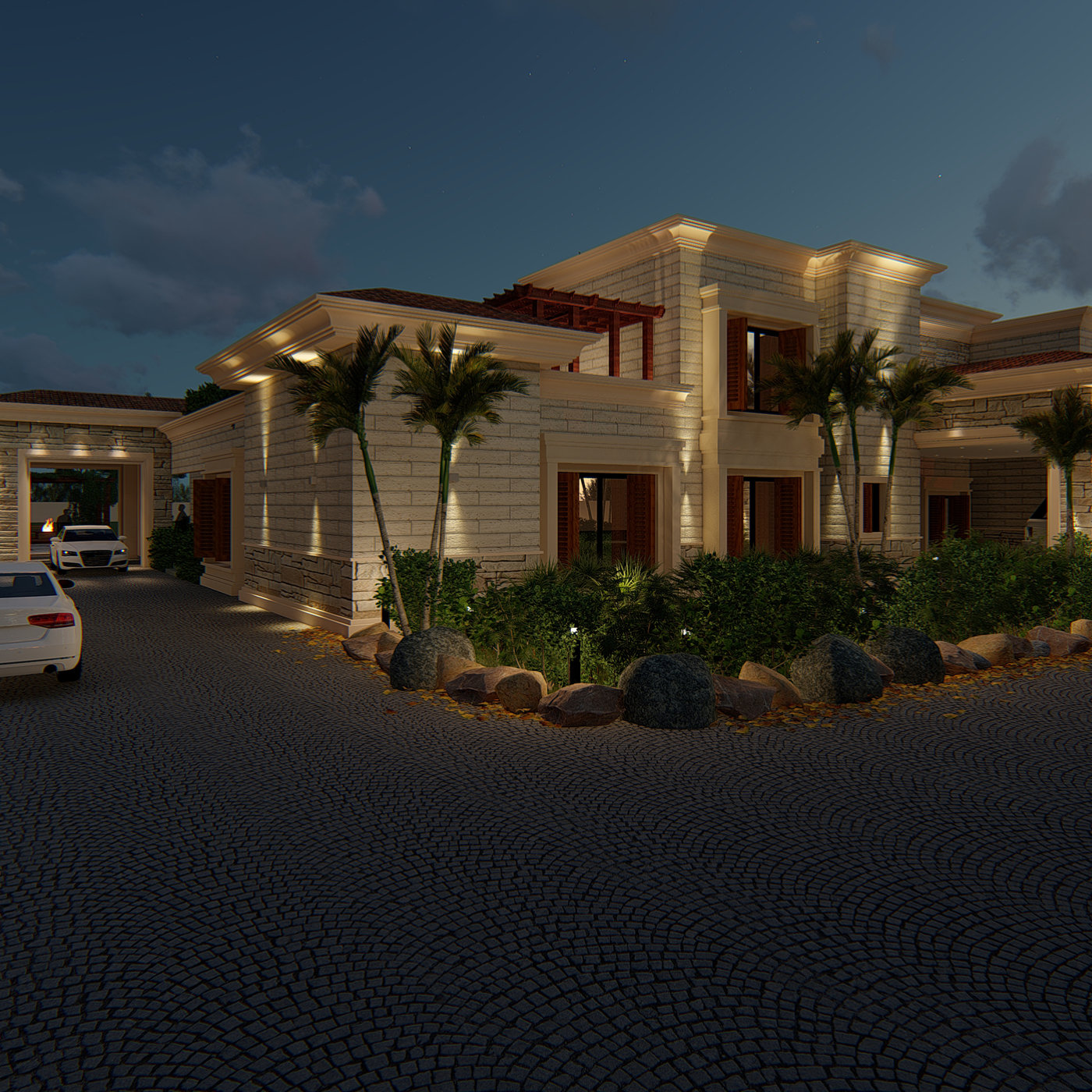 farm house design and redesign along with landscape night render