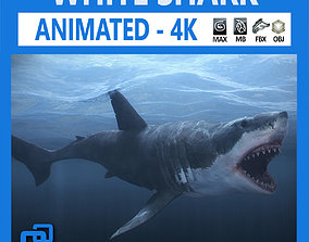 3D asset realtime Animated Great White Shark
