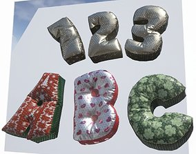 Alphabet Decor balloons and pillows UE4 and Unity 3D model