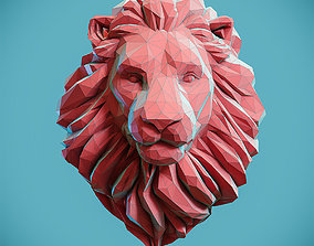 3D printable model Low poly Lion Head Pendant Papercraft