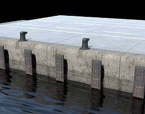 Port concrete blocks 3D asset
